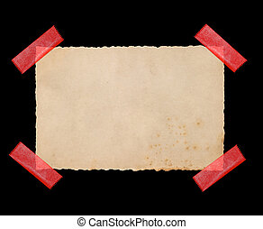 Used paper cardboard with red tape strips
