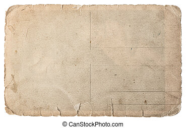 Used paper isolated on white. Vintage torn cardboard
