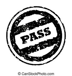 Used black business pass stamp, isolated on white background.