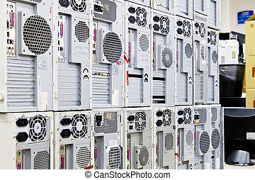 used personal computers like wall prepared for recycling