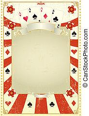 Used poker background - A grunge card frame.