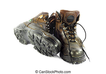 Used Safety Shoes. - Safety shoes with visable places and...