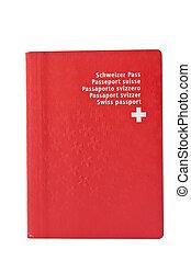 Used Swiss passort, isolated - Lightly worn Swiss passport,...