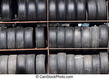 Used tires - Old car tyres stacked on the rack