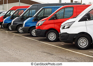 used van sales - row of different marques of commercial...