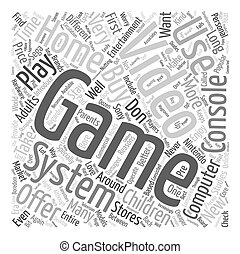 used video game systems text background wordcloud concept