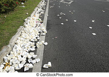 used water paper cup after marathon - XIAMEN,CHINA - JANUARY...