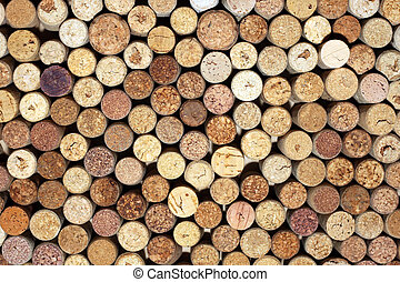 used wine bottles corks background