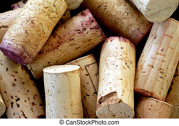 wine corks - used wine corks arranged on top of each other