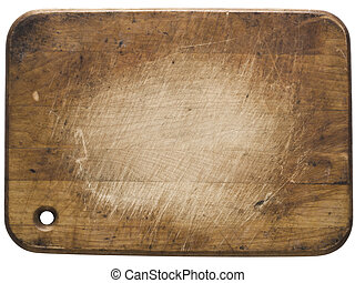 used wooden cutting board - close up of a used wooden...