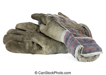 work gloves - used work gloves isolated on white background