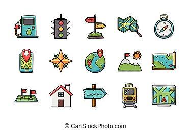 usedlost, a, navigace, ikona, dát