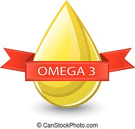 shiny yellow blob with red ribbon. It is written on a ribbon of omega 3