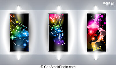 Useful Art Gallery with 3 artistic Background completely editable under clipping mask.
