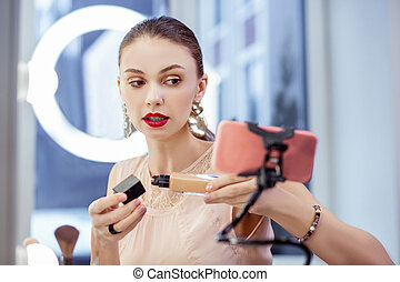 Nice attractive woman giving advice about cosmetics - Useful...