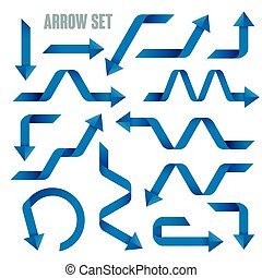 useful blue arrows set collection over white background