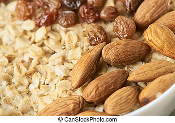Useful breakfast. Oatmeal with almonds and raisins