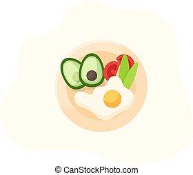 Useful breakfast. Scrambled eggs with avocado
