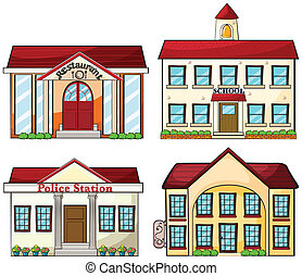 Useful buildings - Illustration of the useful buildings on a...