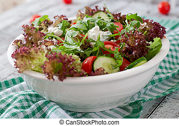 salad with cottage cheese, herbs - Useful dietary salad with...