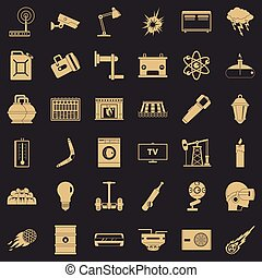 Useful energy icons set, simple style