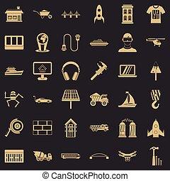 Useful engineering icons set, simple style