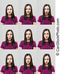 useful faces - young woman making different faces. digital ...
