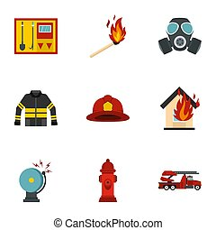 Useful fire serivice icons set, flat style