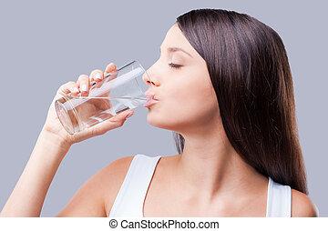 useful., fond, gris, beau, quoique, femme, boire, debout, contre, rafraîchissant, jeune, eau