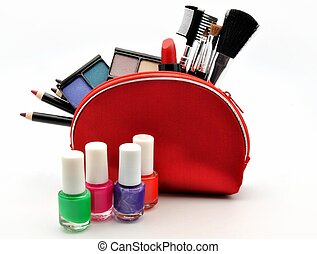 Useful makeup - Several useful makeup within a red suitcase ...