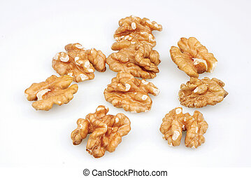 Useful organic walnuts, close-up, isolated on white background.