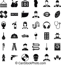 Useful profession icons set, simple style