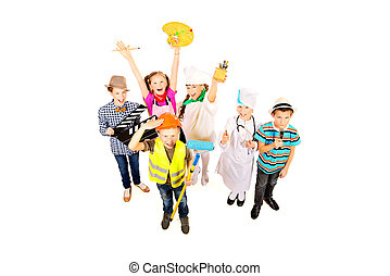 useful professions - A group of children dressed in costumes...