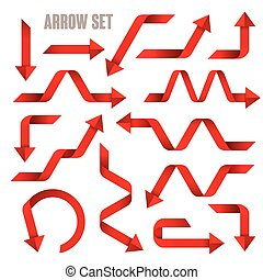 useful red arrows set collection over white background