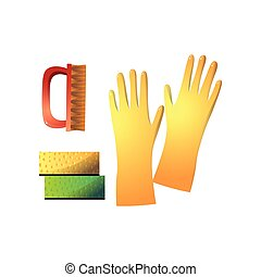 Useful supplies for housekeeping such as yellow rubber gloves, red stiff brush and two sponge isolated on white background