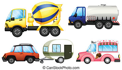 Useful vehicles - Illustration of the useful vehicles on a...