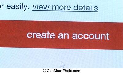 User account create button shot clip