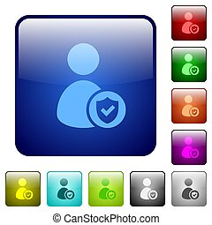 User account protected color square buttons