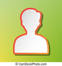 User avatar illustration. Anonymous sign. Contrast icon with reddish stroke on green backgound.