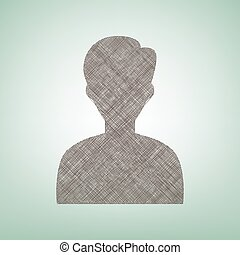 User avatar illustration. Anonymous sign. Vector. Brown flax icon on green background with light spot at the center.