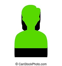 User avatar illustration. Anonymous sign. Vector. Green 3d icon