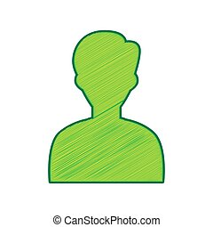 User avatar illustration. Anonymous sign. Vector. Lemon scribble icon on white background. Isolated