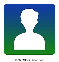 User avatar illustration. Anonymous sign. Vector. White icon at green-blue gradient square with rounded corners on white background. Isolated.
