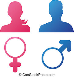 Vector illustration of female and male silhouettes with gender icons isolated on white background
