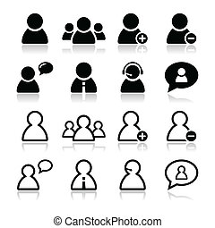 User black icons set - businessman, - Users icons with...
