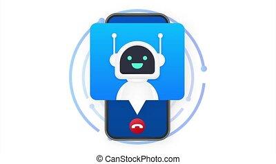 user., client, bot, robot., service, illustration., appeler, sourire