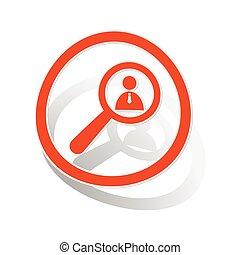 User details sign sticker, orange