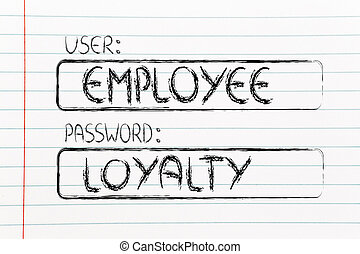 user and password: concept of how an employee needs to prove loyalty