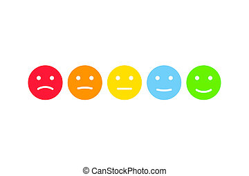 User feedback emoticons infographics set. Customer survey testimonials smiley illustration.