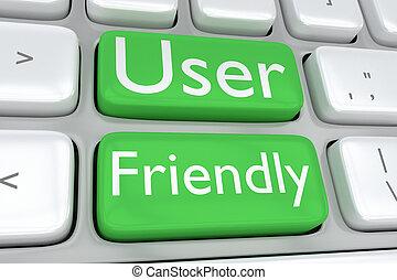User Friendly concept - Render illustration of computer ...
